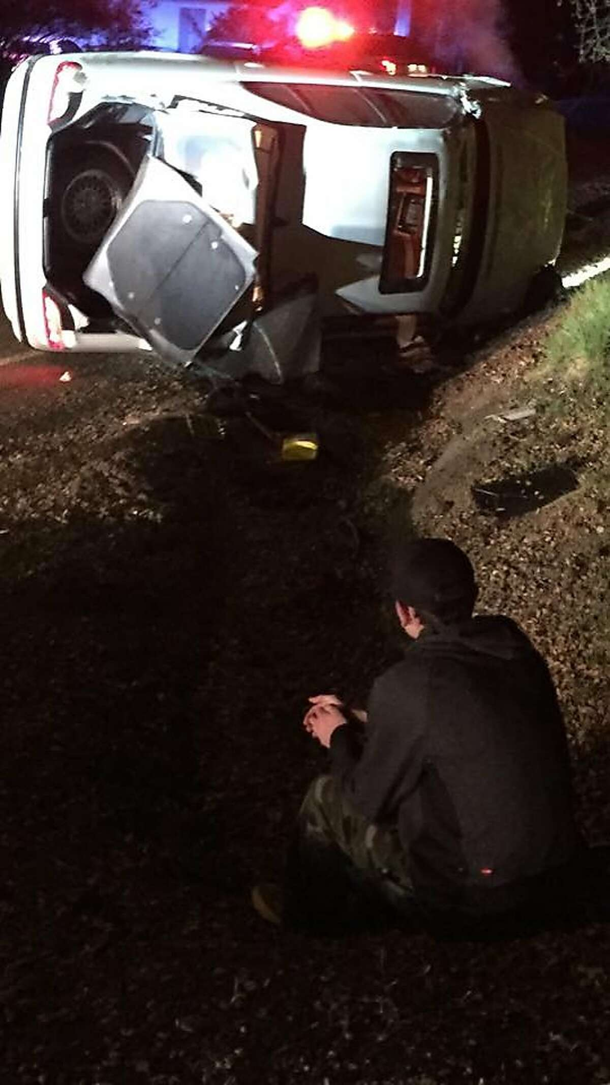 A car spun off the road into a ditch in Healdsburg early Friday morning.