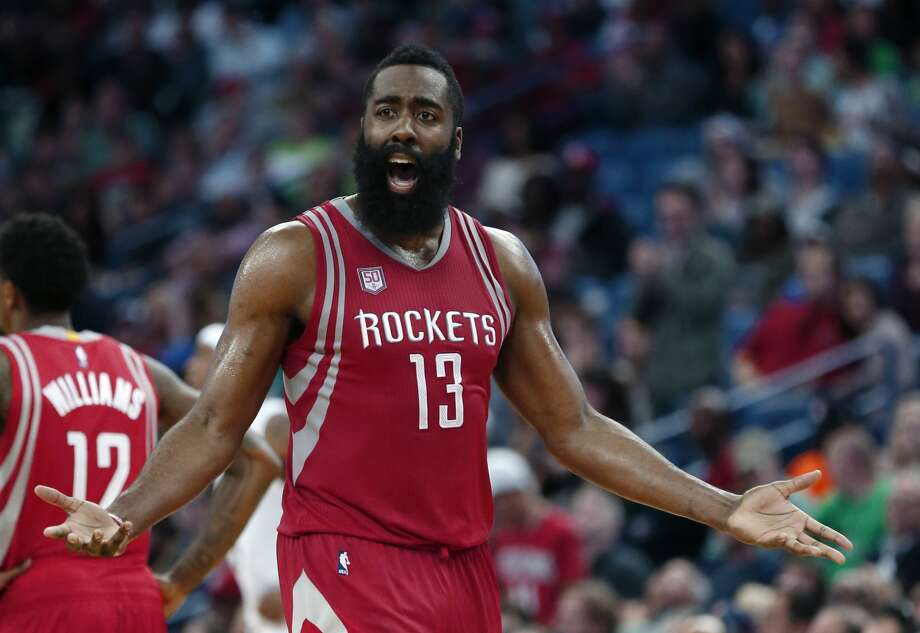 Houston Rockets guard James Harden (13) reacts on the court during the second half of the team's NBA basketball game against the New Orleans Pelicans in New Orleans, Friday, March 17, 2017. The Pelicans won 128-112. (AP Photo/Gerald Herbert) Photo: Gerald Herbert/Associated Press