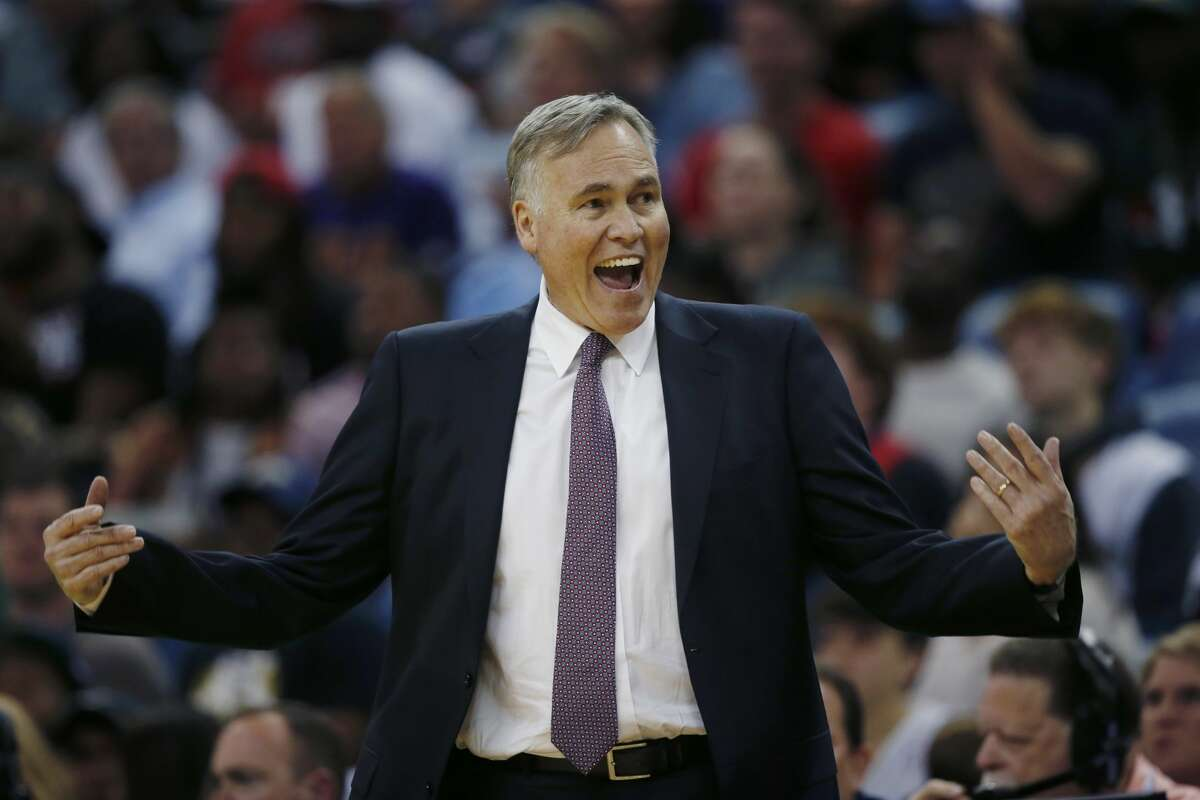 Houston Rockets head coach Mike D'Antoni reacts in the second half of an NBA basketball game against the New Orleans Pelicans in New Orleans, Friday, March 17, 2017. The Pelicans won 128-112. (AP Photo/Gerald Herbert)