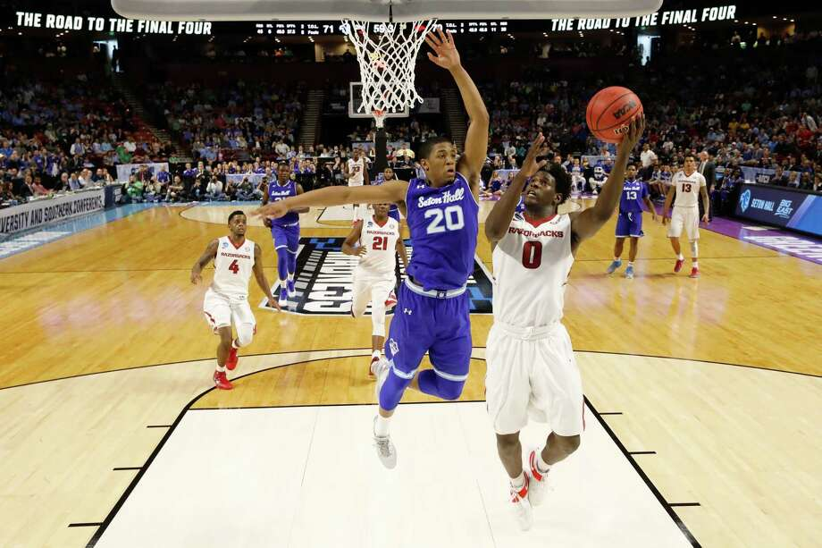 GREENVILLE, SC - MARCH 17:  Jaylen Barford #0 of the Arkansas Razorbacks goes up for a shot against Desi Rodriguez #20 of the Seton Hall Pirates in the first round of the 2017 NCAA Men's Basketball Tournament  at Bon Secours Wellness Arena on March 17, 2017 in Greenville, South Carolina.  (Photo by Kevin C. Cox/Getty Images) ORG XMIT: 686515677 Photo: Kevin C. Cox / 2017 Getty Images