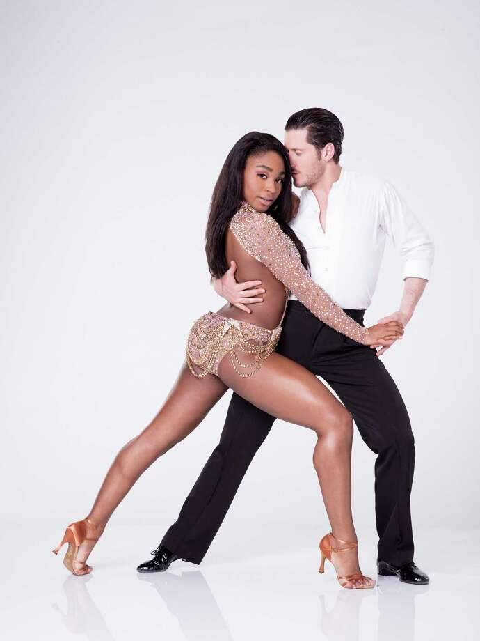 "Normani Kordei with Valentin Chmerkovskiy from ABC's ""Dancing with the Stars.""KEEP CLICKING FOR PHOTOS FROM THEIR DAY AT RODEOHOUSTON. Photo: Craig Sjodin/ABC, TNS / Orlando Sentinel"