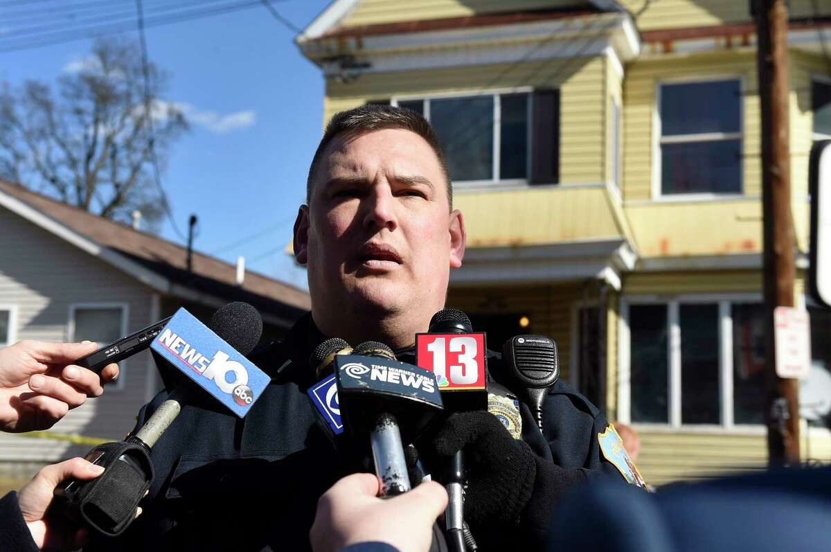 Schenectady Police Lt. Mark McCracken informs the media about a shooting and lockdown at 1349 Crane St. on Saturday, Feb. 20, 2016, in Schenectady, N.Y. (Cindy Schultz/Times Union archive)