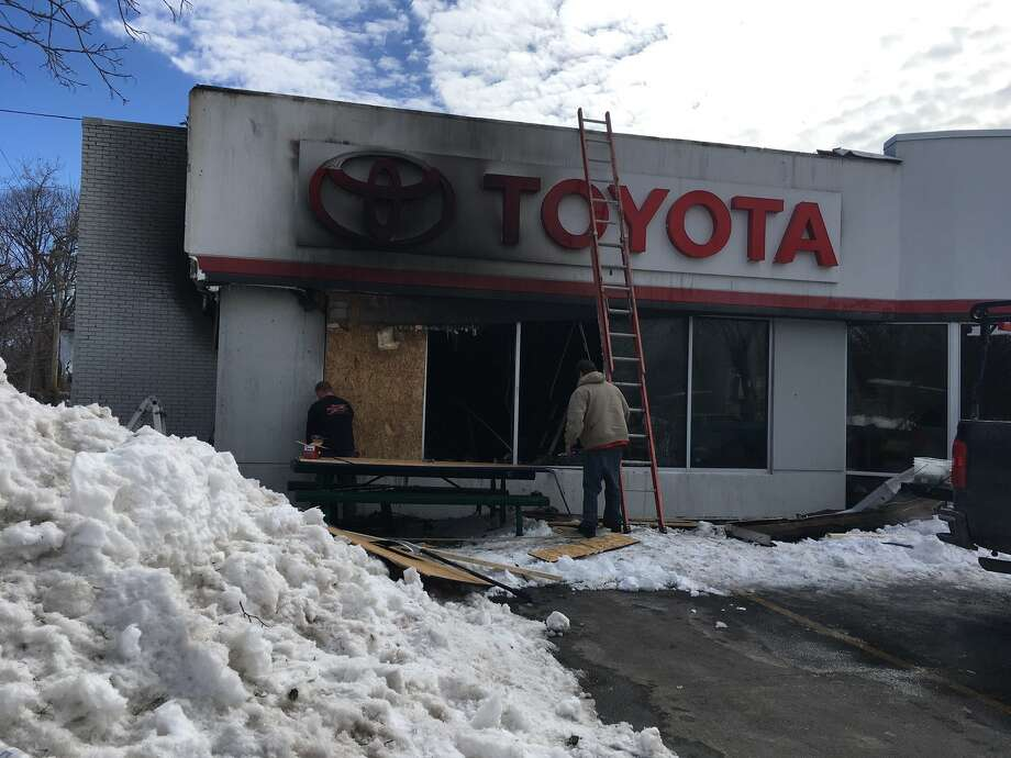 Northway Toyota in Latham on Saturday, March 18, 2017, after a fire damaged the showroom late Friday night. (Wendy Liberatore/Times Union)