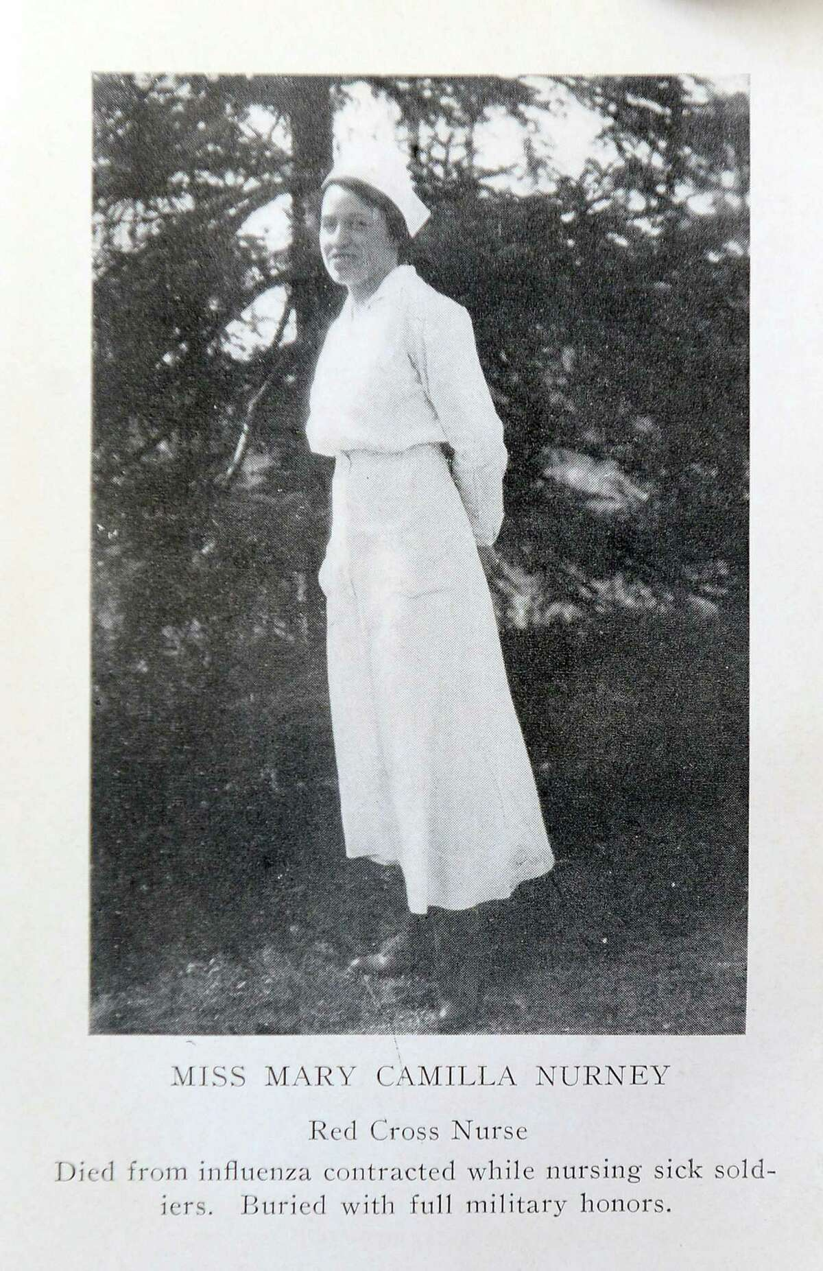 Mary Nurney, who's picture appears in a book of poems and songs entitled Liberty Illumined, Patriotic Poems War Songs by Charles H. Crandall, published in 1918. Nurney is credited for treating soldiers with the Spanish Flu in Stamford.