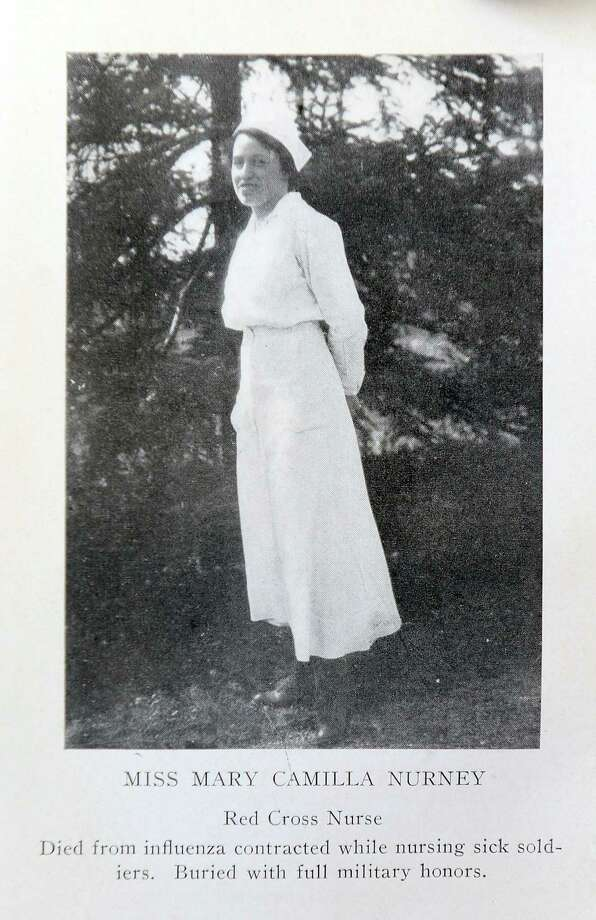 Mary Nurney, who's picture appears in a book of poems and songs entitled Liberty Illumined, Patriotic Poems War Songs by Charles H. Crandall, published in 1918. Nurney is credited for treating soldiers with the Spanish Flu in Stamford. Photo: Contributed Photo / Hearst Connecticut Media / Stamford Advocate