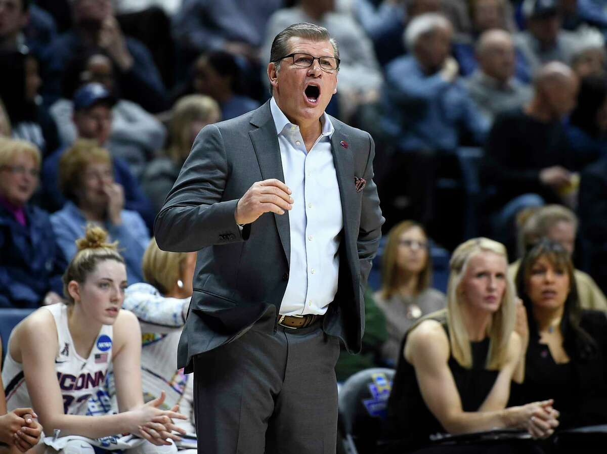 Connecticut head coach Geno Auriemma calls out to his team during the first half of a first round round of a women's college basketball game against Albany in the NCAA Tournament, Saturday, March 18, 2017, in Storrs, Conn. (AP Photo/Jessica Hill) ORG XMIT: CTJH108