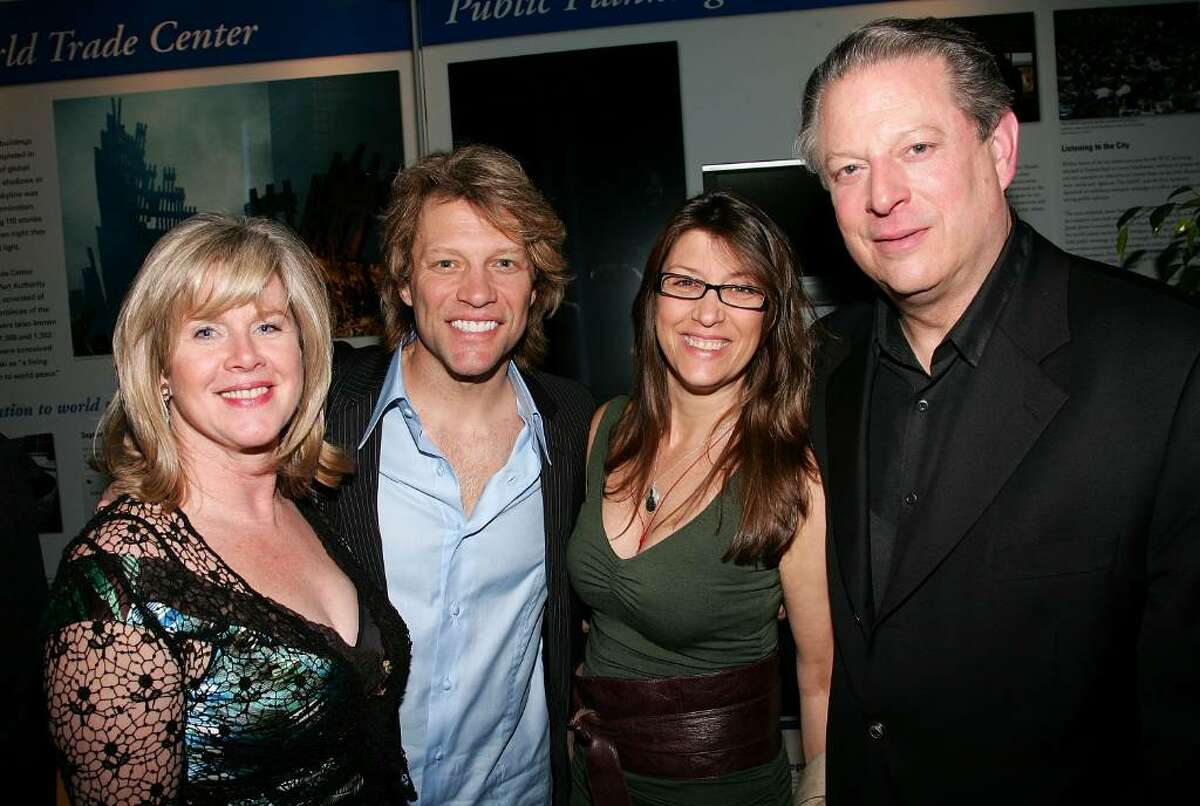 NEW YORK - APRIL 25: (L-R) Tipper Gore, singer Jon Bon Jovi, his wife Dorothea Hurley and Al Gore attend the opening night after party for