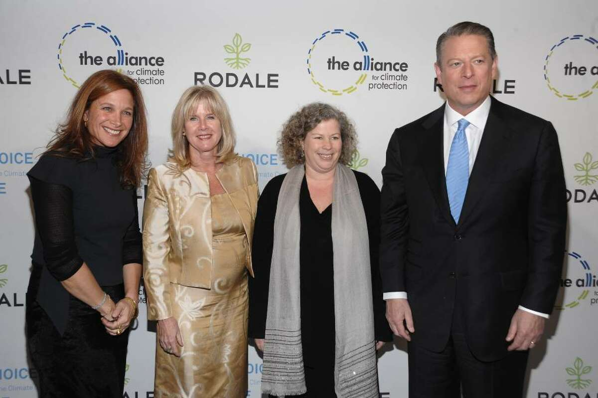 NEW YORK - NOVEMBER 03: Senior Vice President, General Manager and Publisher of Rodale Books Karen Rinaldi, Tipper Gore, Chairman and CEO of Rodale Maria Rodale and Al Gore attend the Rodale launch party for Al Gore's New Book