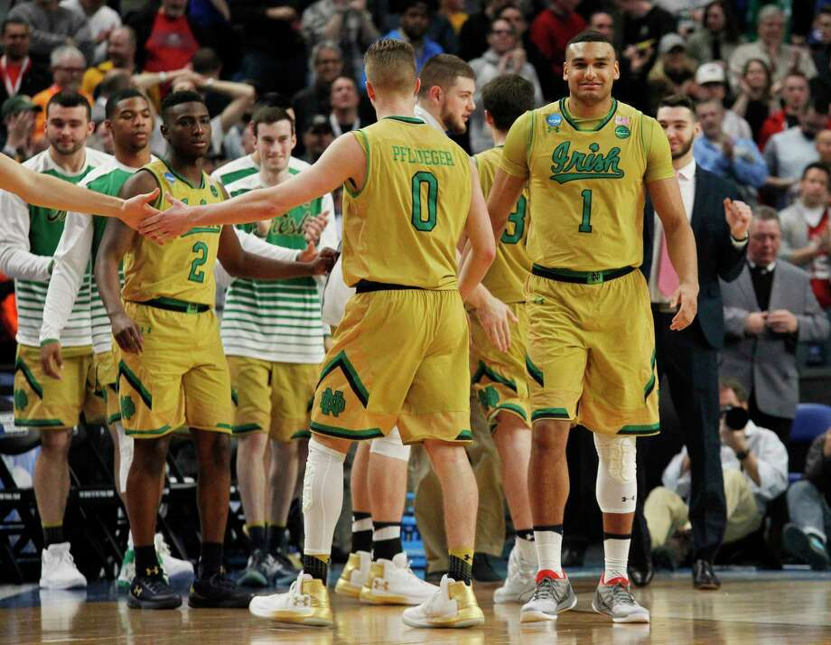 Notre Dame celebrates a 60-58 victory over Princeton during the first-round men's college basketball game in the NCAA Tournament, Thursday, March 16, 2017, in Buffalo, N.Y. (AP Photo/Jeffrey T. Barnes) Photo: Jeffrey T. Barnes, FRE / 2017