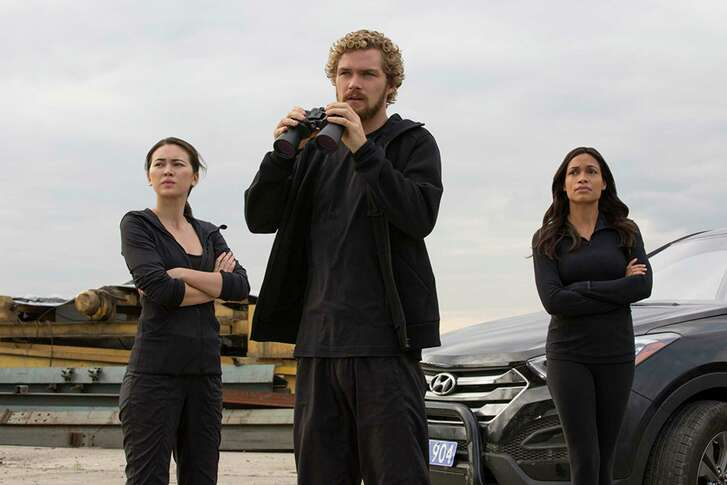 """Iron Fist"" stars, from left, Jessica Henwick, Finn Jones and Rosario Dawson."