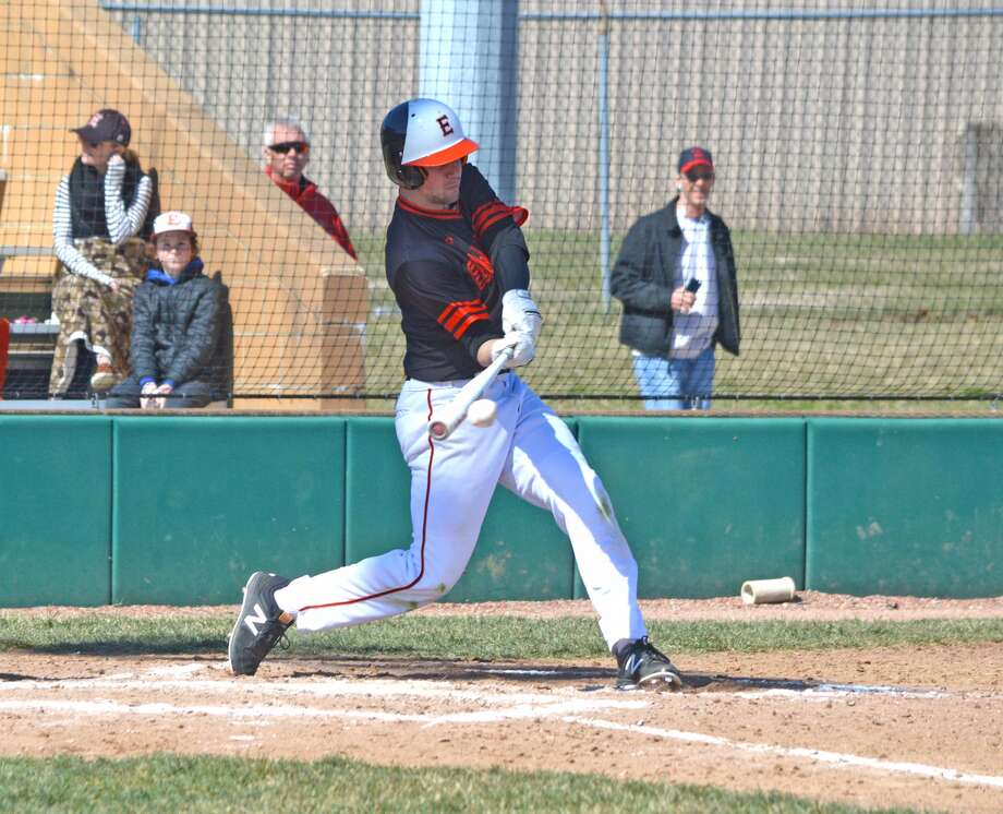 Edwardsville senior Dan Picchiotti swings at pitch during Saturday's game against Joliet Catholic.