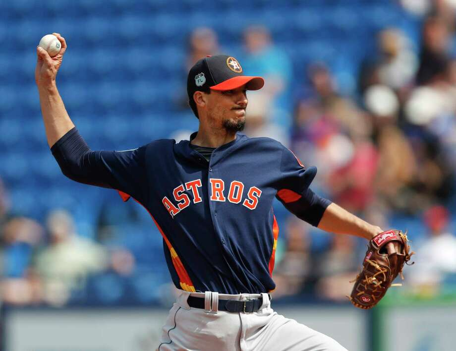 Houston Astros starting pitcher Charlie Morton (50) works in the first inning of a spring training baseball game against the New York Mets, Friday, March 3, 2017, in Port St. Lucie, Fla. (AP Photo/John Bazemore) Photo: John Bazemore, STF / Copyright 2017 The Associated Press. All rights reserved.