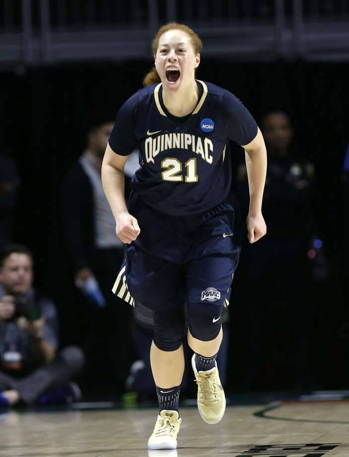 Quinnipiac forward Jennifer Fay, who scored 20 points, celebrates a three-point basket during the first-round game against Marquette in Coral Gables, Fla. Photo: Lynne Sladky, Associated Press