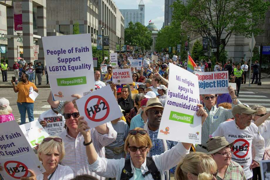 Demonstrators call for the repeal of HB2 in Raleigh, N.C.. The bill has cost them jobs, money, performances and events, including the NCAA basketball tournament.  Photo: Jill Knight, FILE / Raleigh News & Observer
