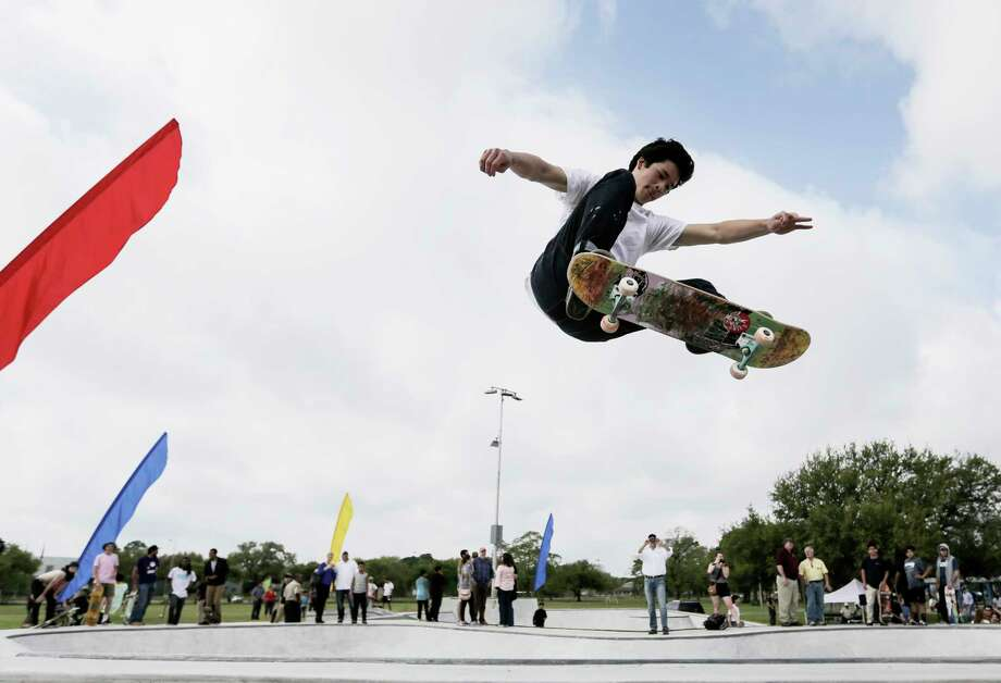 """Andrew Wallace, 18, gets some air time Saturday at Houston's new skateboarders' playground, """"The Station"""" Skatepark at Burnett-Bayland Park. Photo: Elizabeth Conley, Staff / © 2017 Houston Chronicle"""