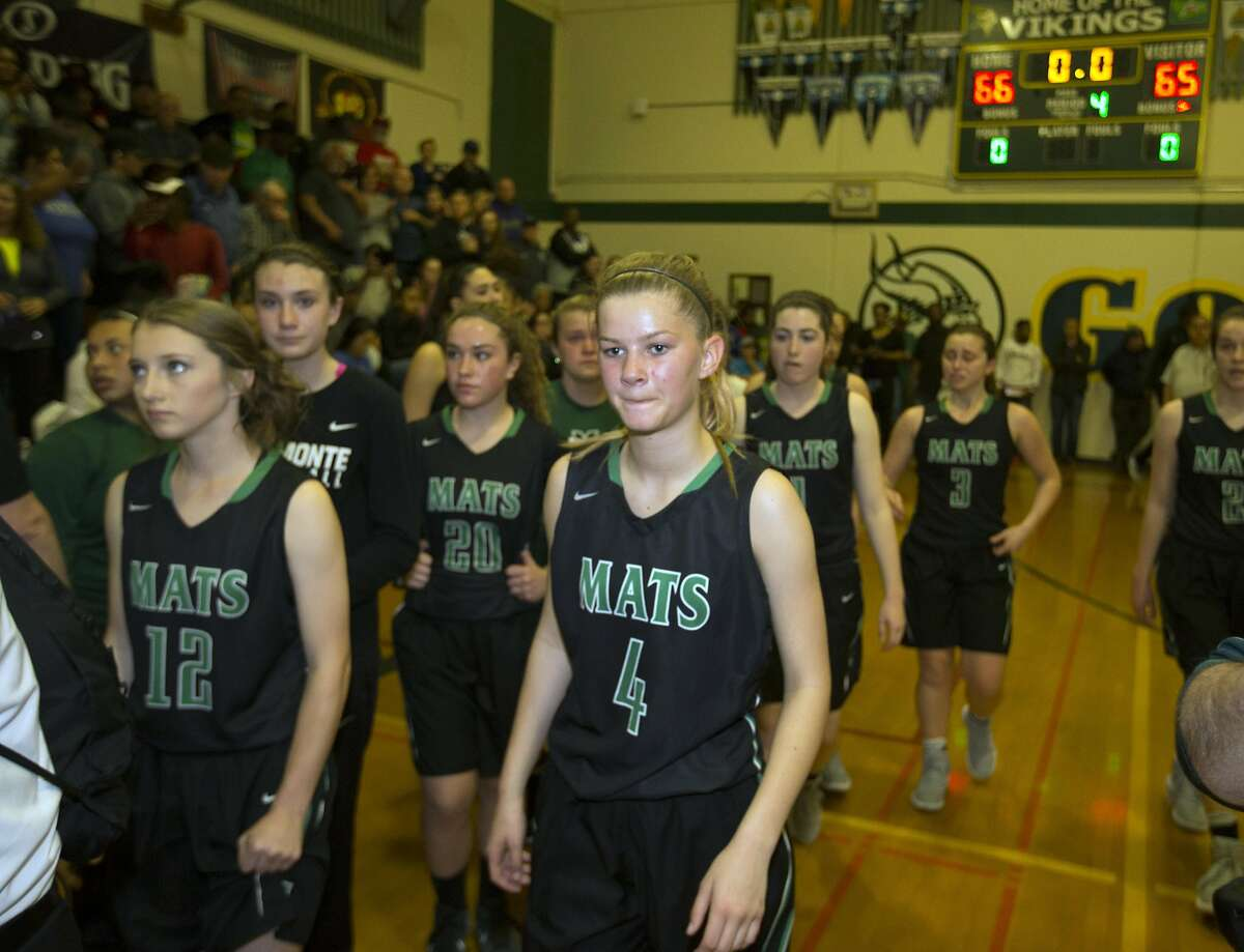 Miramonte players walk off the court after losing to Vanden in a girls' high school basketball game on Saturday, March 18, 2017 in Fairfield, Calif. Vanden won 66-65.
