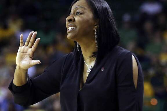 Texas Southern head coach Johnetta Hayes-Perry calls plays to her team against Baylor in the first half of a first-round game in the women's NCAA college basketball tournament, Saturday, March 18, 2017, in Waco, Texas. (AP Photo/Jerry Larson)