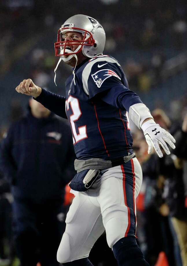 New England Patriots quarterback Tom Brady shouts as he takes the field to warm up before the AFC championship NFL football game against the Pittsburgh Steelers, Sunday, Jan. 22, 2017, in Foxborough, Mass. (AP Photo/Matt Slocum) Photo: Matt Slocum, STF / Copyright 2017 The Associated Press. All rights reserved.