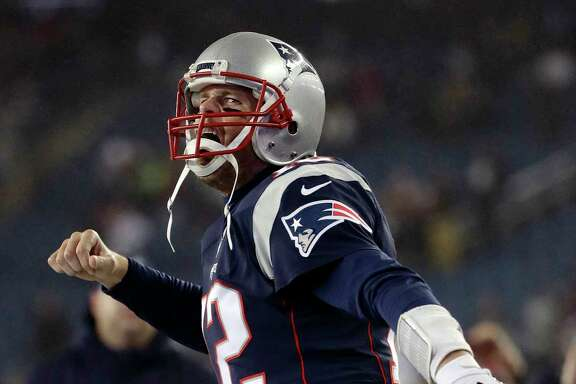 New England Patriots quarterback Tom Brady shouts as he takes the field to warm up before the AFC championship NFL football game against the Pittsburgh Steelers, Sunday, Jan. 22, 2017, in Foxborough, Mass. (AP Photo/Matt Slocum)