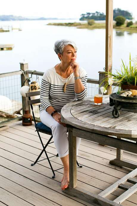 Tricia Rose and her husband often have tea on the deck of their home in San Rafael. Photo: Mason Trinca, Special To The Chronicle