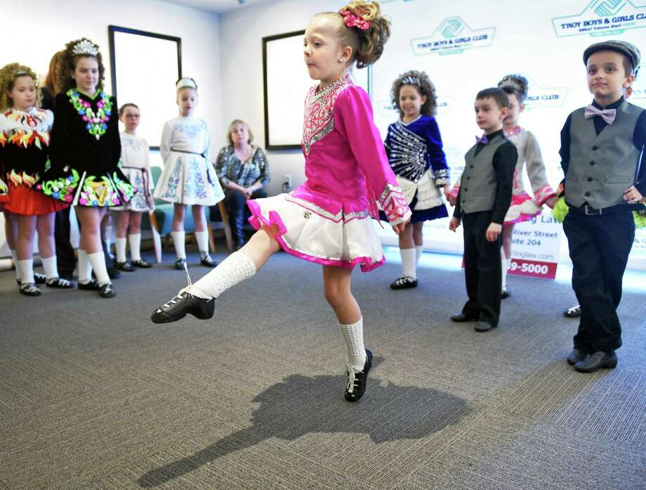 Seven-year-old Kaelyn Grovenger of Delmar performs with the Boland School of Irish Dance 8 during the 3rd Annual Collar City Kilt Fest Saturday March 18, 2017 in Troy, NY.  (John Carl D'Annibale / Times Union) Photo: John Carl D'Annibale / 20039663A