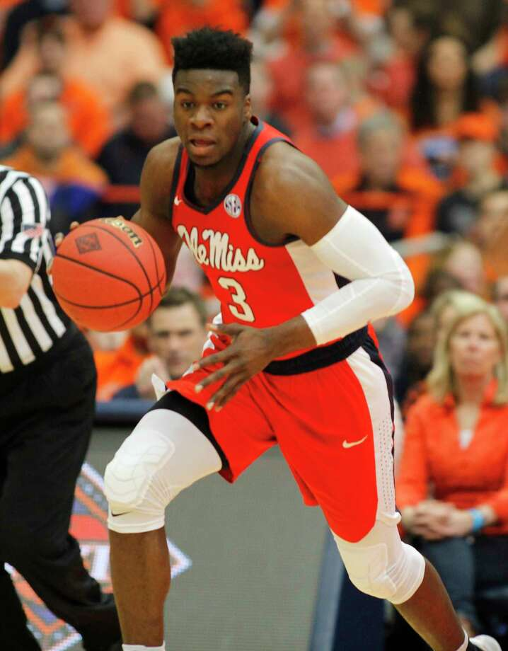 Mississippi's Terence Davis dribbles down court in the second half of an NCAA college basketball NIT game against Syracuse in Syracuse, N.Y., Saturday, March 18, 2017. Mississippi won 85-80. (AP Photo/Nick Lisi) ORG XMIT: NYNL116 Photo: Nick Lisi / FR171024 AP