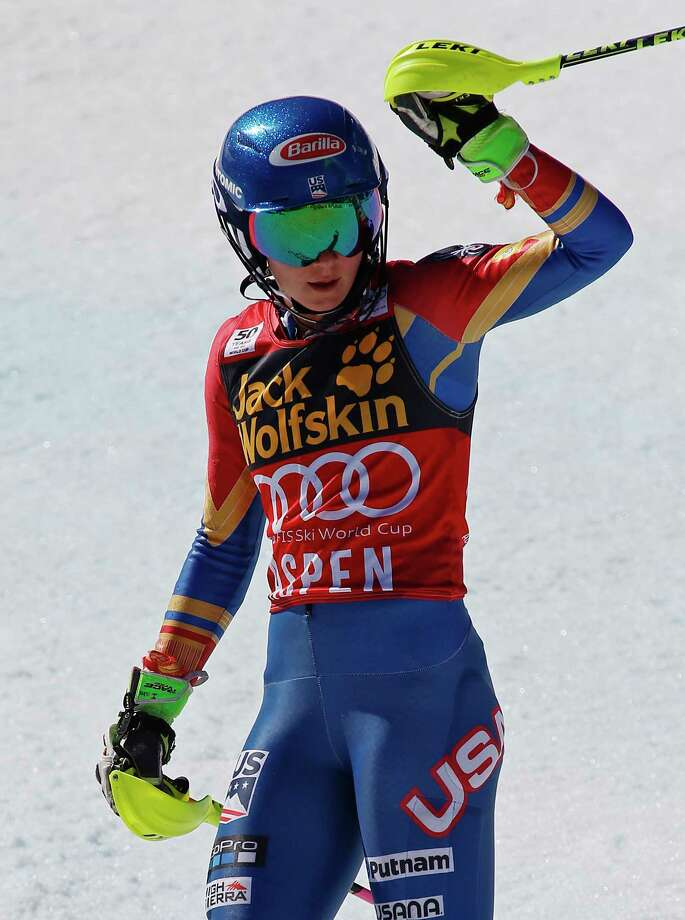 United States' Mikaela Shiffrin reacts after the second run of a women's World Cup slalom ski race Saturday, March 18, 2017, in Aspen, Colo. (AP Photo/Nathan Bilow) ORG XMIT: WIJL159 Photo: Nathan Bilow / Nathan Bilow(c) +1.970.209-0655