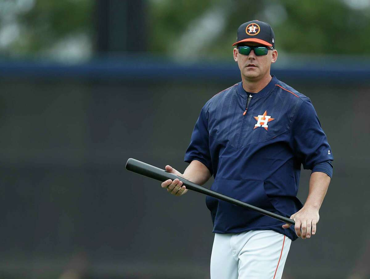 Houston Astros manager A.J. Hinch during spring training at The Ballpark of the Palm Beaches, in West Palm Beach, Florida, Wednesday, February 22, 2017. ( Karen Warren / Houston Chronicle )