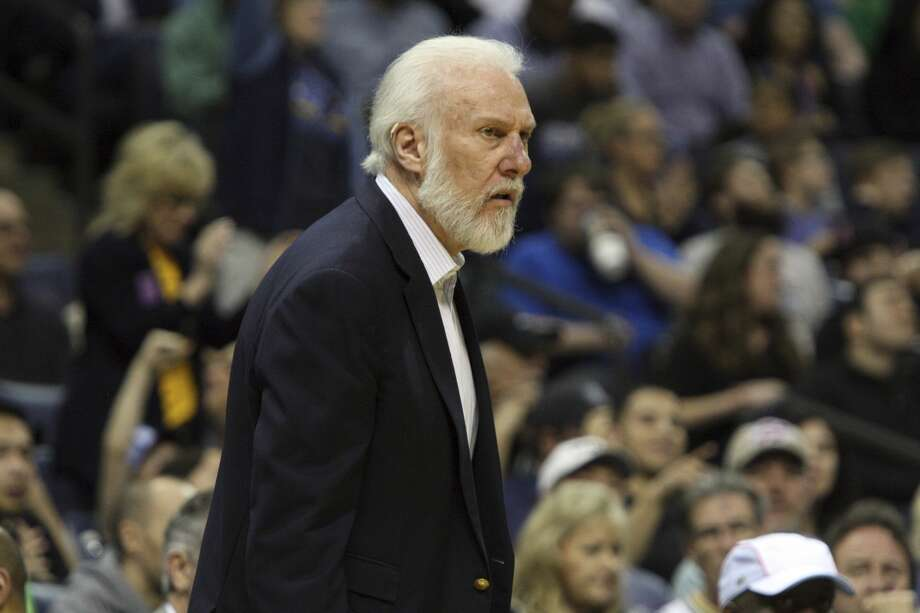 San Antonio Spurs coach Gregg Popovich reacts to a call in the first half of an NBA basketball game against the Memphis Grizzlies, Saturday, March 18, 2017, in Memphis, Tenn. (AP Photo/Karen Pulfer Focht) Photo: Karen Pulfer Focht/Associated Press