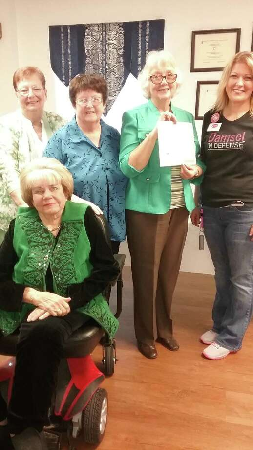 Members of the Woman's Club of Cleveland held their March meeting at the Cleveland First United Methodist Church.  Kathy Hughes of Damsels in Distress demonstrated self-defense techniques and showed members the products she recommends for everyone.  Club activities include Relay of Life, a food drive, a project for Bridgehaven Child Advocacy Center in Dayton, and a trip to Kirbyville for the club's Magnolia District Convention.  Pictured (left to right, standing ):  co-hostesses Francis Cunningham and Doris Rush, Club President Carol Jordan, speaker Kathy Hughes of Damsels in Distress; and (seated) co-hostess Jean McAdams. Photo: Submitted