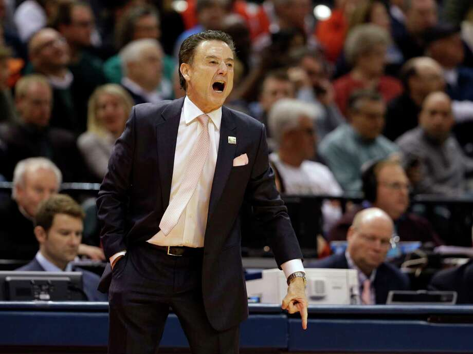 Former Louisville coach Rick Pitino yells to his team from the sideline during the first half of a first-round game against Jacksonville State in the men's NCAA college basketball tournament in Indianapolis, Friday, March 17, 2017. (AP Photo/Michael Conroy) Photo: Michael Conroy, STF / Copyright 2017 The Associated Press. All rights reserved.