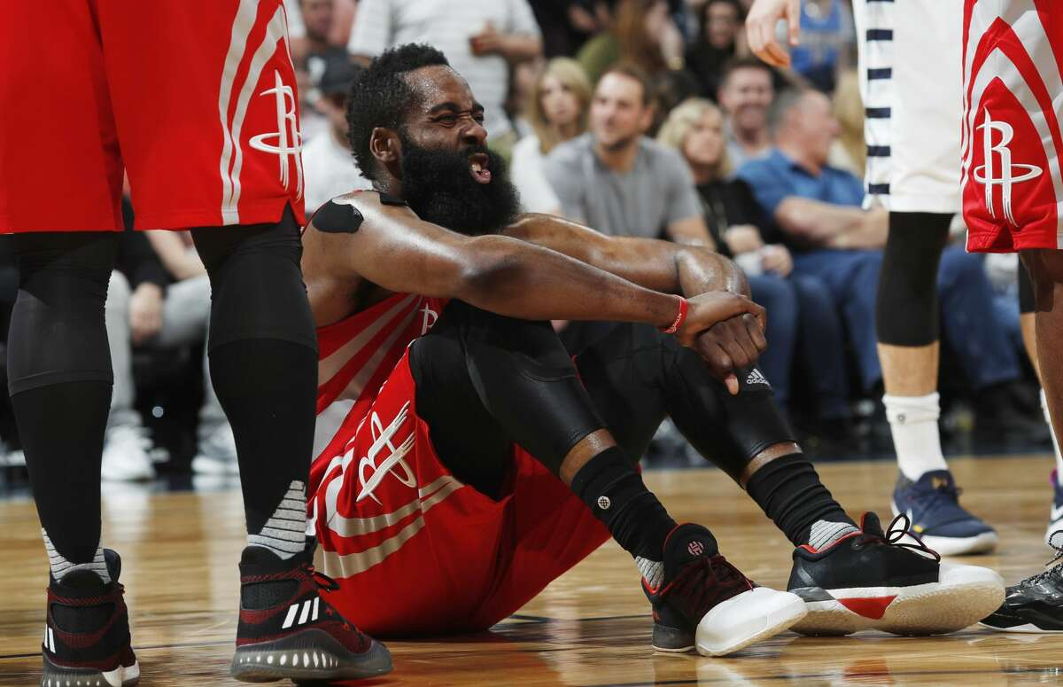 Houston Rockets guard James Harden reacts after fouling Denver Nuggets center Mason Plumlee during the second half of an NBA basketball game Saturday, March 18, 2017, in Denver. The Rockets won 109-105. (AP Photo/David Zalubowski)