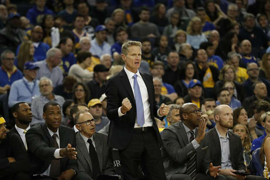Head Coach Steve Kerr of the Golden State Warriors is seen on the sideline during the third quarter of his NBA basketball game against the Milwaukee Bucks at Oracle Arena in Oakland, Calif. on Saturday, March 18, 2017. The Warriors defeated the Bucks 117-92. Photo: Stephen Lam, Special To The Chronicle