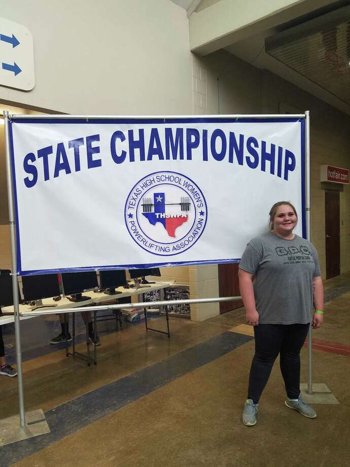 Liberty High School student Hannah Hill finished ranked No. 10 in the state in 4A for her weight class at the Texas High School Women's Powerlifting Associations State Championship in Waco, Texas. Photo: Submitted