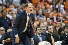 SYRACUSE, NY - FEBRUARY 22:  Assistant coach Mike Hopkins of the Syracuse Orange instructs players during the first half against the Duke Blue Devils on February 22, 2017 at The Carrier Dome in Syracuse, New York. Syracuse upsets Duke 78-75.  (Photo by Brett Carlsen/Getty Images)