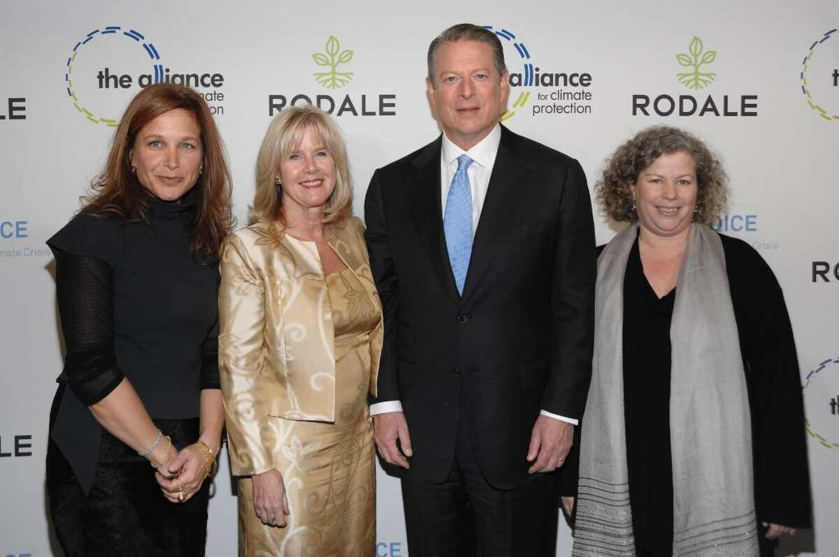 NEW YORK - NOVEMBER 03: Senior Vice President, General Manager and Publisher of Rodale Books Karen Rinaldi, Tipper Gore, Al Gore and Chairman and CEO of Rodale Maria Rodale attend the Rodale launch party for Al Gore's New Book