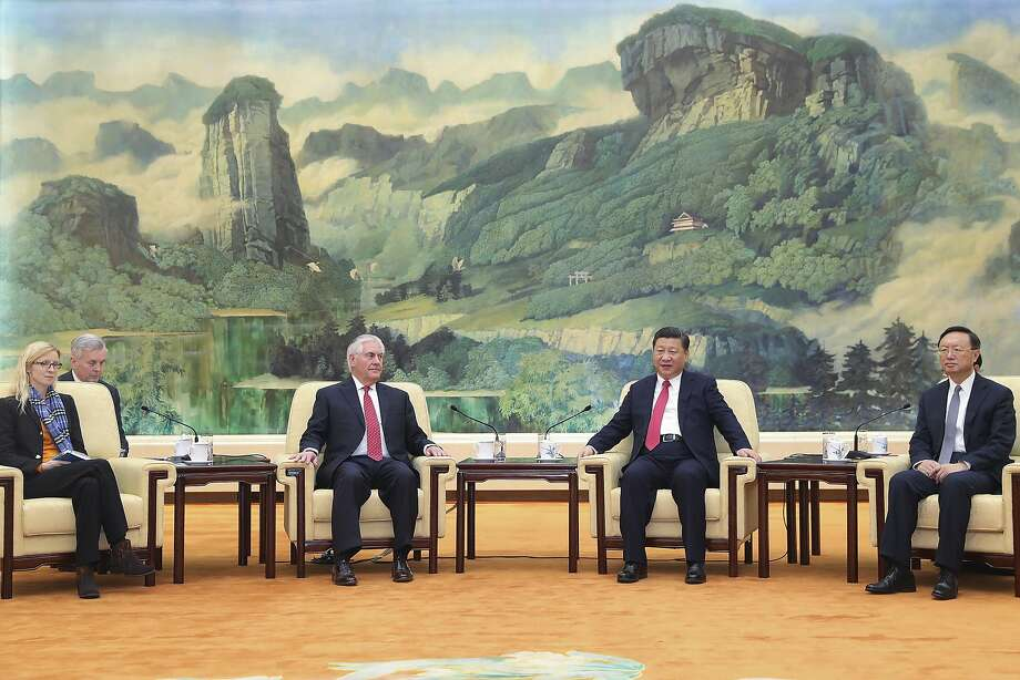 U.S. Secretary of State Rex Tillerson (center left) attends talks with China President Xi Jinping in Beijing. Photo: Lintao Zhang, Associated Press