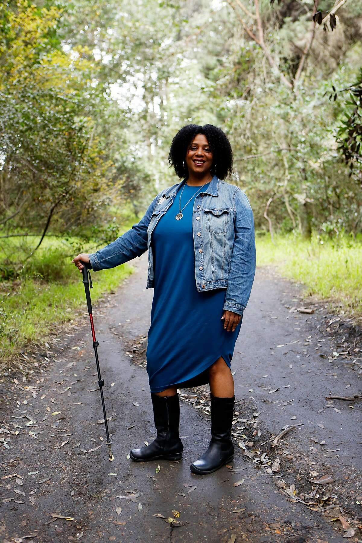 Rue Mapp, the founder of Outdoor Afro, poses for a portrait inside Joaquin Miller Park in Oakland, Calif. on Sunday, March 19, 2017. The park is one of many supported with funding from the Land and Water Conservation Fund, which is up for a permanent funding vote before Congress.
