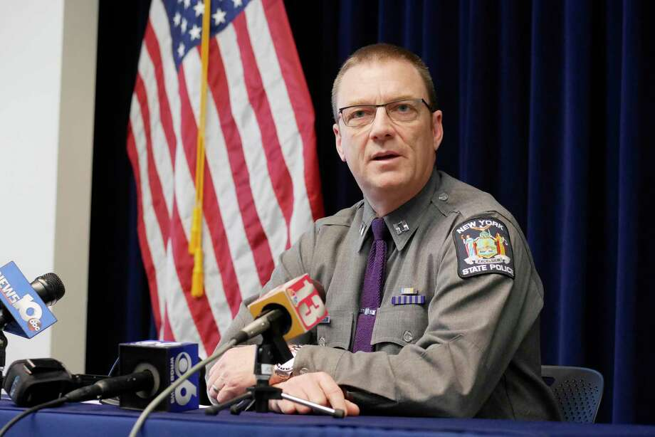 New York State Police Captain Robert Patnaude talks to the media about the route 7 crash in Rotterdam which resulted in the death of Emmanuel Humphreys, during a press conference on Sunday, March 19, 2017, in Latham, N.Y.    (Paul Buckowski / Times Union)