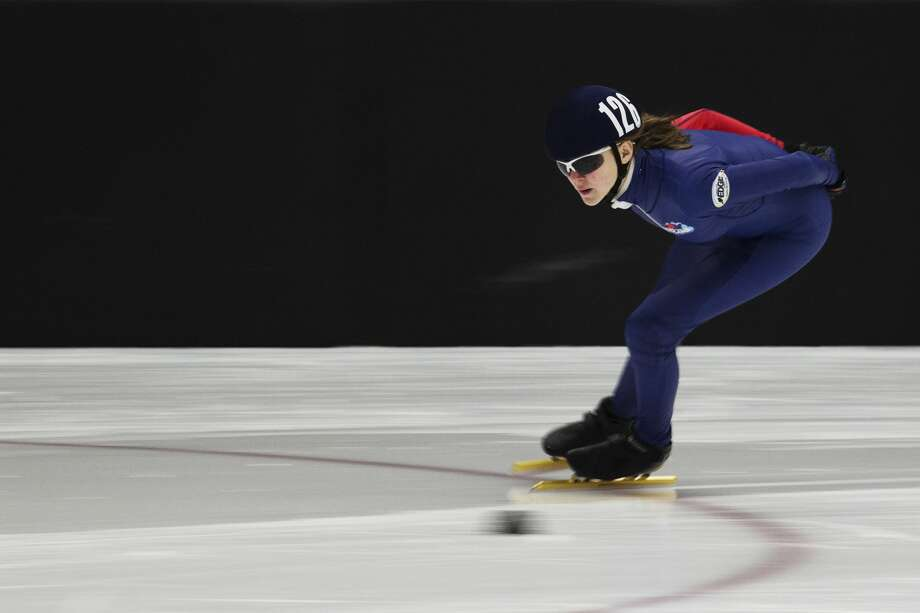 THEOPHIL SYSLO | For the Daily News Midland's Ella Trosin competes during the Girls' Junior C 1500 Semi-Final during the U.S. Speedskating Short Track Age Class Nationals at The Midland Civic Arena on Sunday. Photo: Theophil Syslo