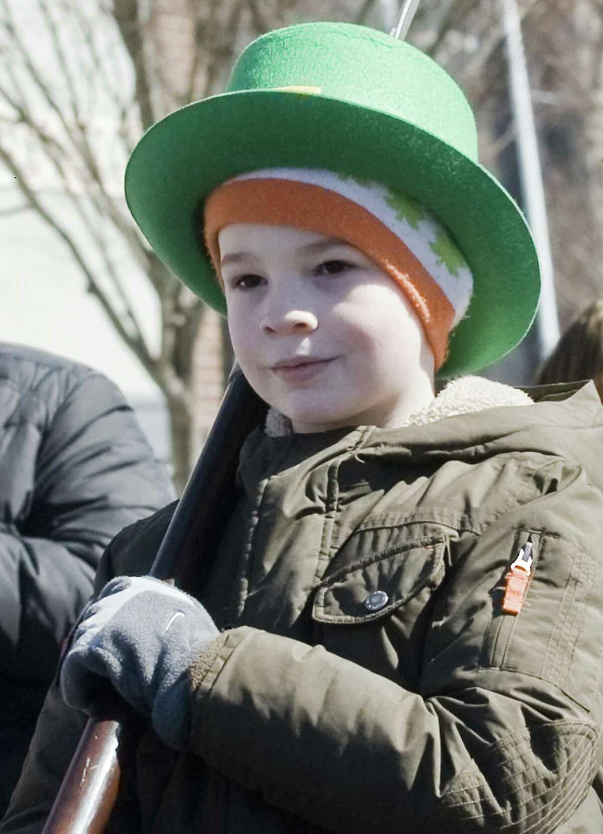 Liam Hearty, 8 of New Fairfield, marching in the Greater Danbury Irish Cultural Center's St. Patrick's Day parade on Main Street in Danbury. Sunday, March 19, 2017
