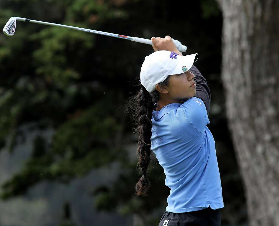 Sabrina Iqbal teed off on the second hole of the championship. The finals of the San Francisco City Golf Championship held at Harding Park Golf Course Sunday March 19, 2017. Photo: Brant Ward
