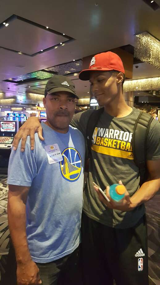 Rookie Patrick McCaw poses with his father, Jeff, before a Warriors-Lakers preseason game in Las Vegas in October. Photo: Courtesy Teresa McCaw