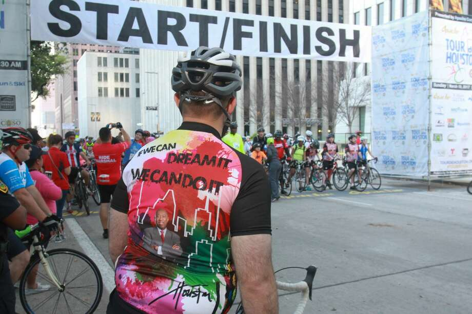Jeff Syptak, a member of Mayor Sylvester Turners staff, at the start one of the waves at the Tour de Houston, the city's annual fundraising bike ride. The ride is presented by Apache Corporation and benefits the Re-Plant Houston Program. (For the Chronicle/Gary Fountain, March 19, 2017)>>>Scroll through the gallery to see more scenes from Sunday's Tour de Houston Photo: Gary Fountain/Gary Fountain/For The Chronicle