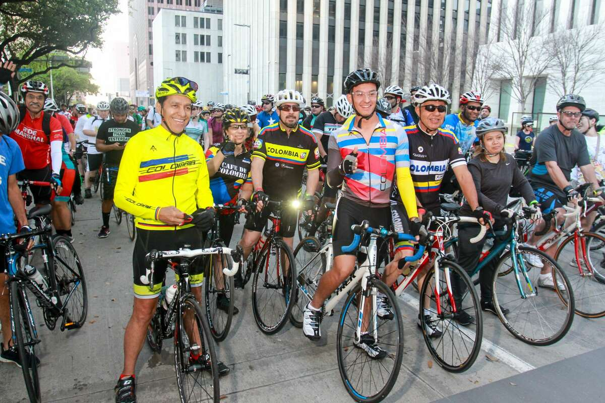 Scenes from the Tour de Houston the city's annual fundraising bike ride, presented by Apache Corporation and benefiting the Re-Plant Houston Program. (For the Chronicle/Gary Fountain, March 19, 2017)