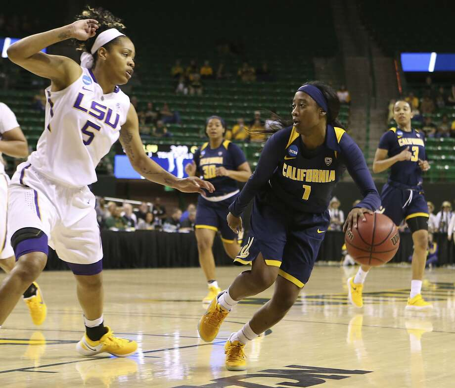 California guard Asha Thomas (1) drives the ball against LSU forward Ayana Mitchell (5) in the second half of a first-round game in the women's NCAA college basketball tournament, Saturday, March, 18, 2017, in Waco, Texas. (AP Photo/Jerry Larson) Photo: Jerry Larson, Associated Press