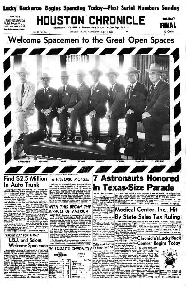 Houston Chronicle front page (HISTORIC) - July 4, 1962 - Welcome Spacemen to the Great Open Spaces. 7 Astronauts Honored in Texas-Size Parade / Houston Chronicle microfilm