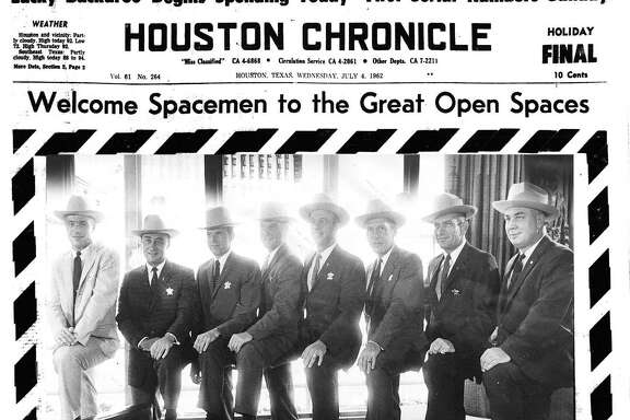 Houston Chronicle front page (HISTORIC) - July 4, 1962 - Welcome Spacemen to the Great Open Spaces. 7 Astronauts Honored in Texas-Size Parade