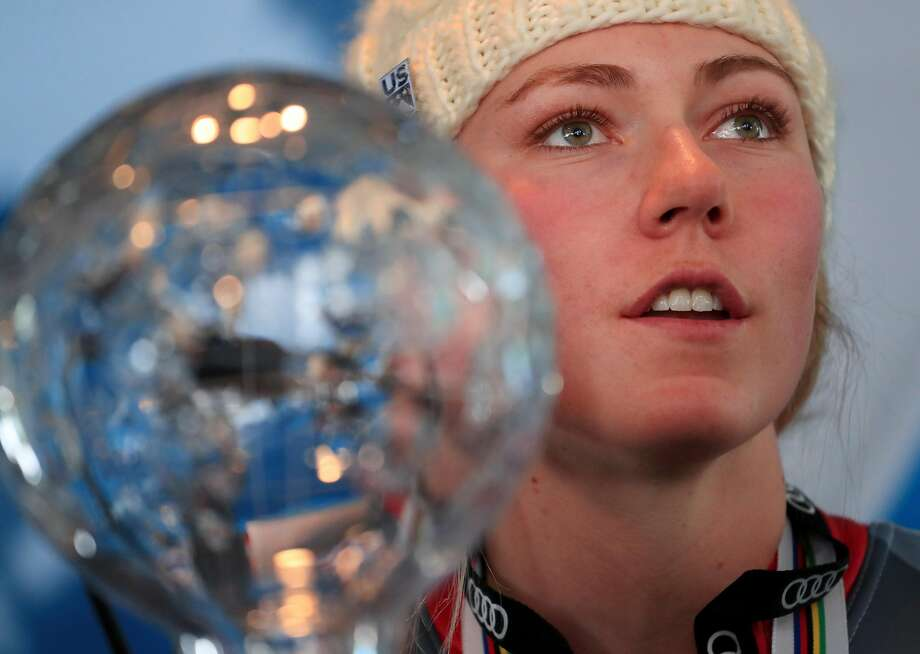 Mikaela Shiffrin shows off her crystal globe as season overall champ. Photo: Tom Pennington, Getty Images
