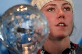 ASPEN, CO - MARCH 19:  Mikaela Shiffrin of United States talks with the media after being awarded the overall season ladies' champion and lasies' season slalom champion at the 2017 Audi FIS Ski World Cup Finals at Aspen Mountain on March 19, 2017 in Aspen, Colorado.  (Photo by Tom Pennington/Getty Images)